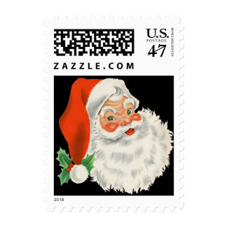 Retro Cute Chubby Santa Claus Christmas Holiday Stamps