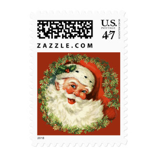 Retro Cute Chubby Santa Wreath Christmas Holiday Stamp
