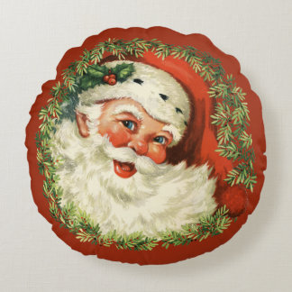 Retro Cute Chubby Santa Wreath Holiday Christmas Round Cushion