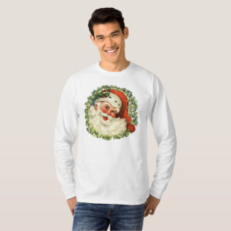 Retro Cute Chubby Santa Wreath Holiday Gifts T-Shirt