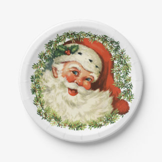 Retro Cute Chubby Santa Wreath Holiday Party 7 Inch Paper Plate