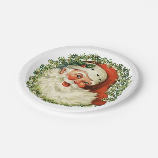 Retro Cute Chubby Santa Wreath Holiday Party Paper