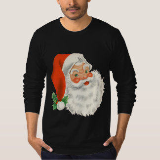 Retro Cute Chubby Smiling Santa Holiday Gifts T-Shirt