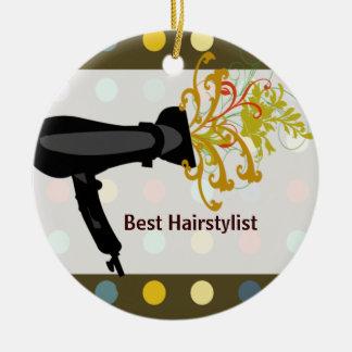 Retro Cute Colorful Salon Hair Stylist Christmas Ornament