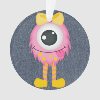 Retro Cute Girly Pink Monster Ornament
