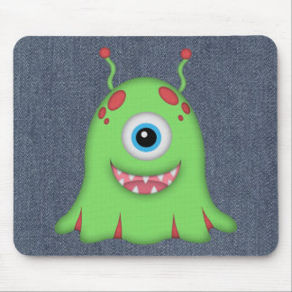 Retro Cute Green Monster Mouse Pads