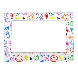 Retro Cute Kids Children Pattern Magnetic Frame