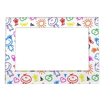 Retro Cute Kids Children Pattern Magnetic Picture Frame | Zazzle.co.uk