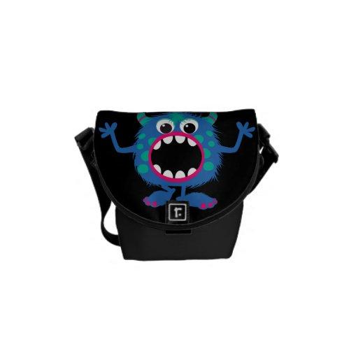 Retro Cute Monster Messenger Bags