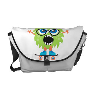 Retro Cute Monster Courier Bags