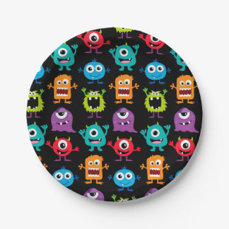 Retro Cute Monster Pattern Paper Plate