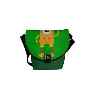 Retro Cute Orange Monster Courier Bag