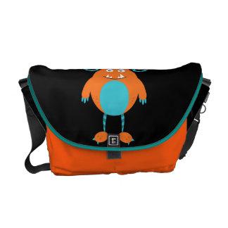Retro Cute Orange Monster Messenger Bag