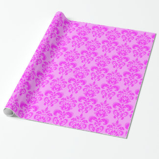 Retro Cute Pink Damask Pattern Wrapping Paper