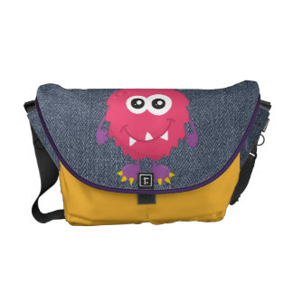 Retro Cute Pink Monster Courier Bag