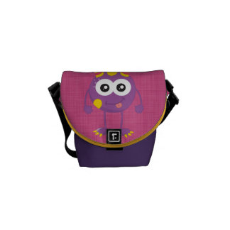 Retro Cute Purple Monster Messenger Bag