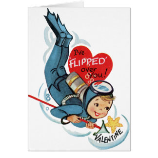 Retro Cute Scuba Diver Valentines Card