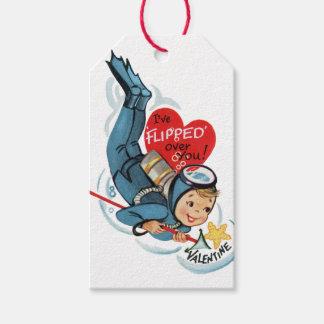 Retro Cute Scuba Diver Valentines Gift Tag