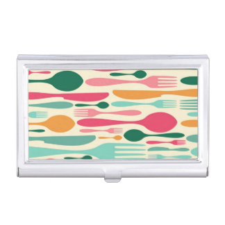 Retro Cutlery Pattern Background Business Card Holder