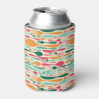 Retro Cutlery Pattern Background Can Cooler