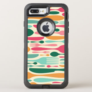 Retro Cutlery Pattern Background OtterBox Defender iPhone 8 Plus/7 Plus Case