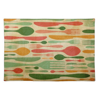 Retro cutlery pattern background placemat
