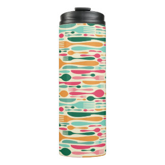 Retro Cutlery Pattern Background Thermal Tumbler