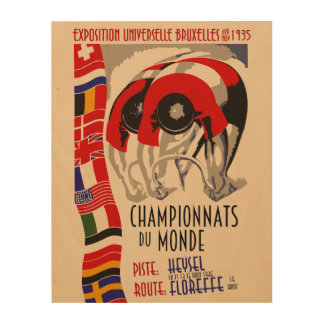 Retro cycling world championships 1935 Brussels Wood Canvas