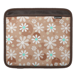 Retro Daisies and Brown Polka Dots Sleeves For iPads