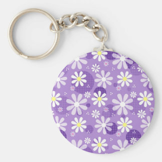 Retro Daisies Purple Gingham Circles Basic Round Button Key Ring