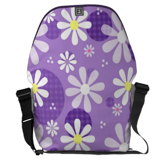 Retro Daisies Purple Gingham Circles Courier Bags