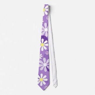 Retro Daisies Purple Gingham Circles Tie