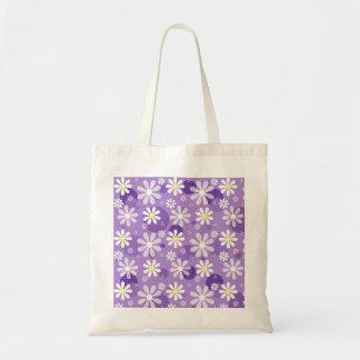 Retro Daisies Purple Gingham Circles Budget Tote Bag