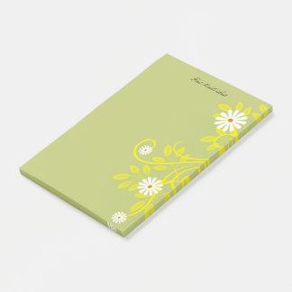 Retro Daisy and Yellow Filigree Border Post-it Notes