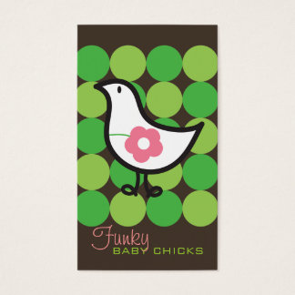 Retro Daisy Baby Chick Bird Whimsical Cute Dots Business Card