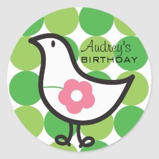 Retro Daisy Baby Chick Bird Whimsical Cute Dots Round Sticker