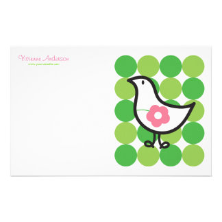 Retro Daisy Baby Chick Bird Whimsical Cute Dots Stationery