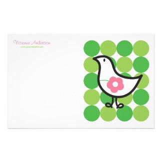 Retro Daisy Baby Chick Bird Whimsical Cute Dots Stationery Design