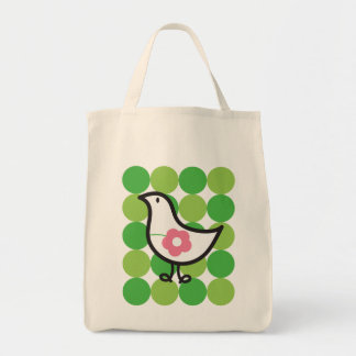 Retro Daisy Baby Chick Bird Whimsical Cute Dots Grocery Tote Bag