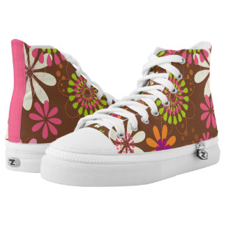 Retro Daisy Brown Zipz High Top Shoes