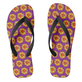 Retro Daisy Yellow On Purple Flip Flops