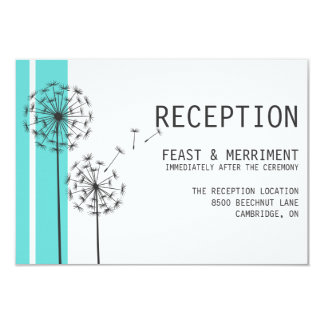 Retro Dandelions Blue Minimalist Reception Card 9 Cm X 13 Cm Invitation Card