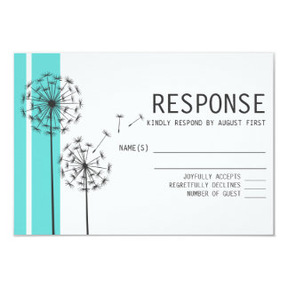 Retro Dandelions Blue Minimalist RSVP Card 9 Cm X 13 Cm Invitation Card