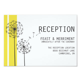 Retro Dandelions Yellow Minimalist Reception Card 9 Cm X 13 Cm Invitation Card