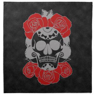 Retro Day of the Dead Grunge Sugar Skull Napkin