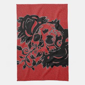 Retro Day of the Dead Grunge Sugar Skull Tea Towel