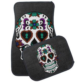 Retro Day of the Dead Sugar Skull Car Mat