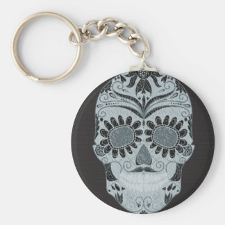 Retro Day of the Dead Sugar Skull Key Ring
