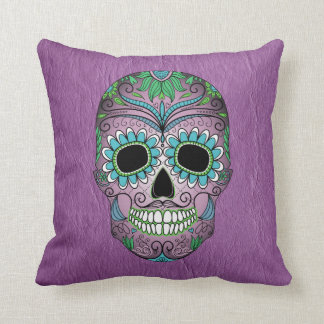 Retro Day of the Dead Sugar Skull on Leather Cushion