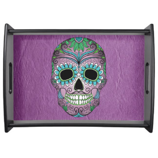 Retro Day of the Dead Sugar Skull on Leather Serving Tray